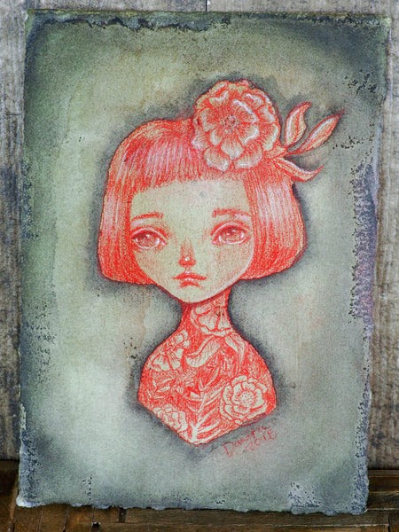 MADE OF FLOWERS - Original mixed media drawing by Danita Art, Original Art by Danita Art