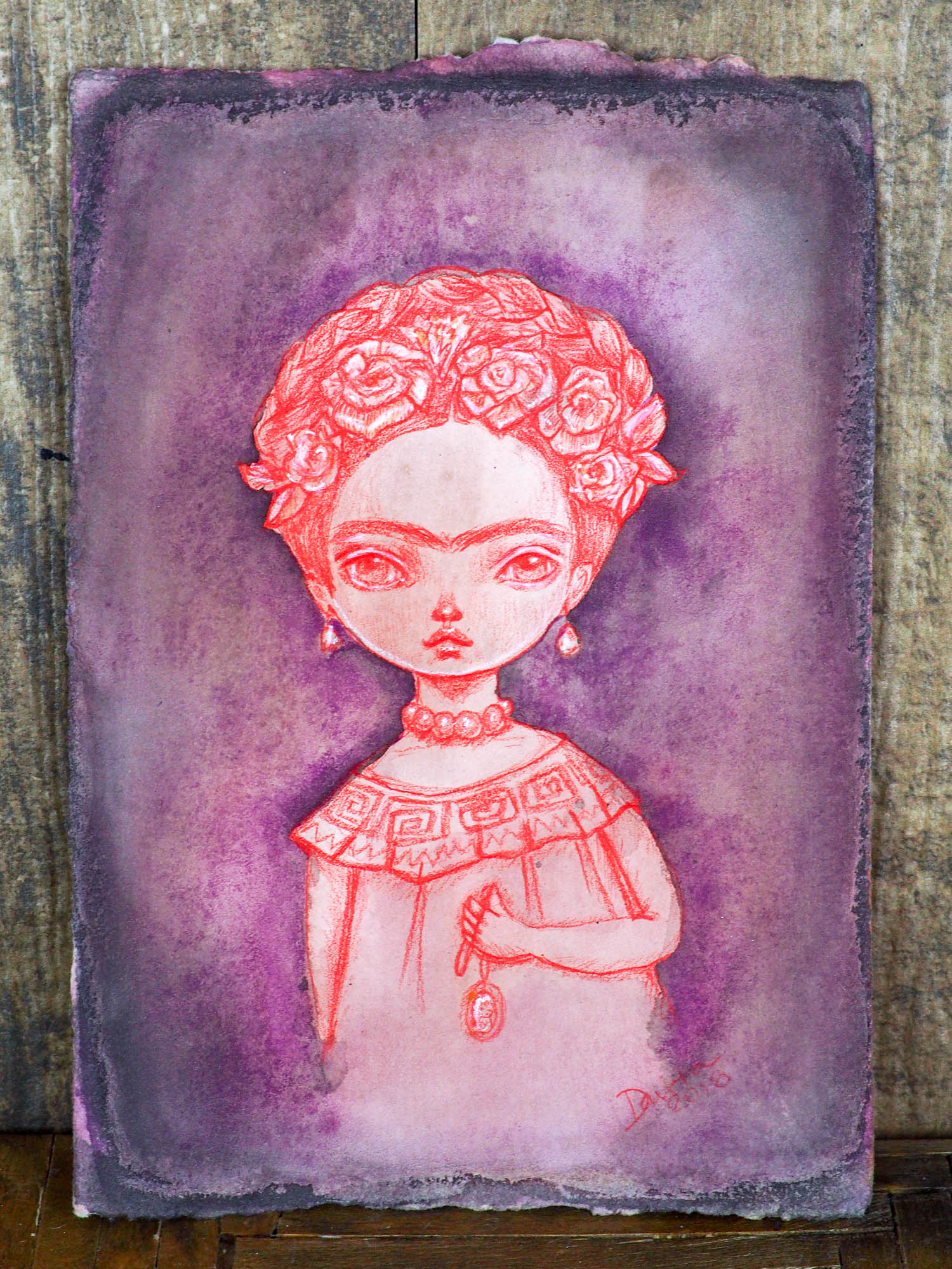 FRIDA'S GHOST - Watercolor and pencil original drawing by Danita Art, Original Art by Danita Art