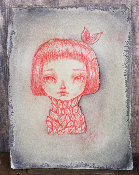THE PLANT - Red pencil and watercolor surreal illustration by Danita, Original Art by Danita Art