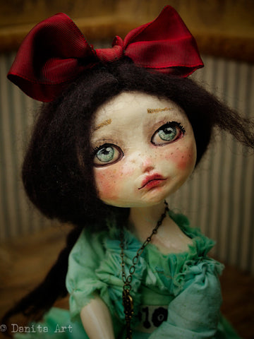 Belle is a beautiful girl with green eyes and a lovely face. Handmade by mixed media artist Danita, her lifelike appearance and her amazing expression will charm you as soon as you lay eyes on her after you adopt her from her official store, danitaart.com