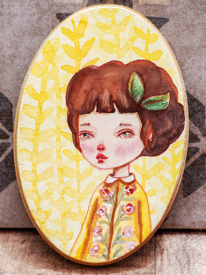 ANITA - Original watercolor portrait on wood by Danita, Original Art by Danita Art