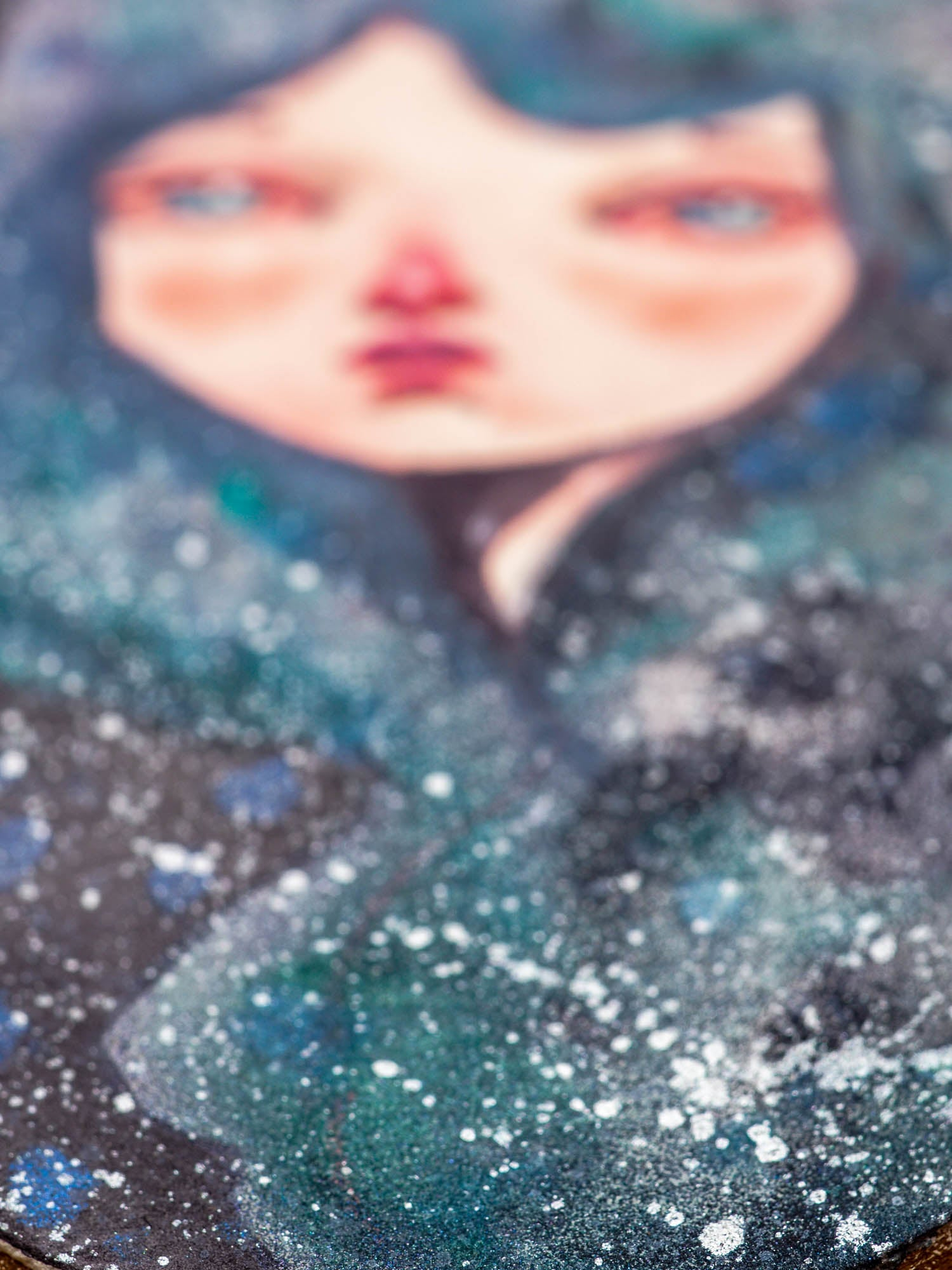ANDROMEDA - One of Danita's deep space inspired watercolor portraits, Original Art by Danita Art