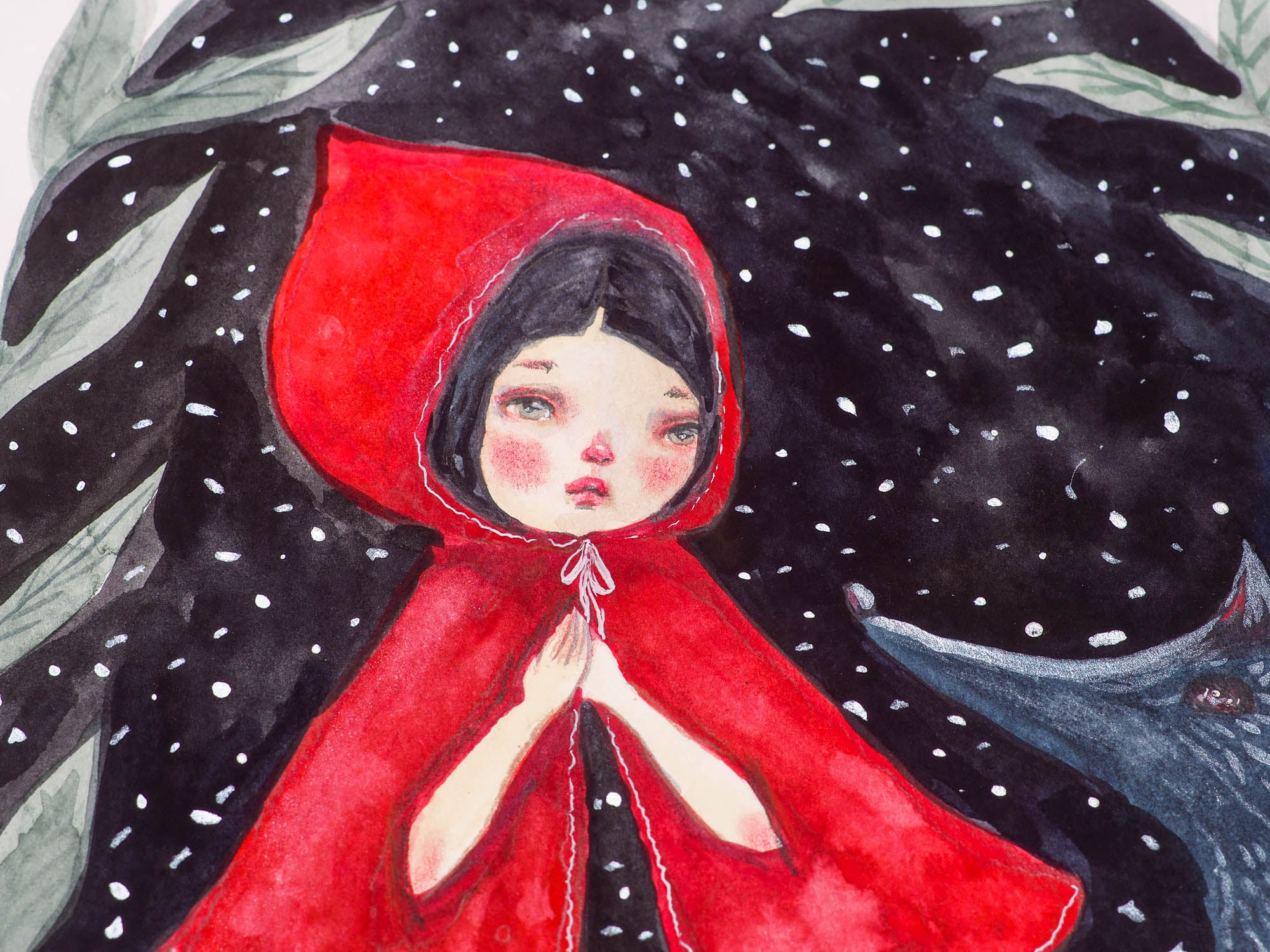 Danita loves painting Little Red riding Hood and the Wolf. This time, it's a 8 x 8 watercolor original, where I painted the wold in gray and silver paint and Little Red Riding Hood is wearing a bright red cape with intricate watercolor shades and silverly thread details on her cape.