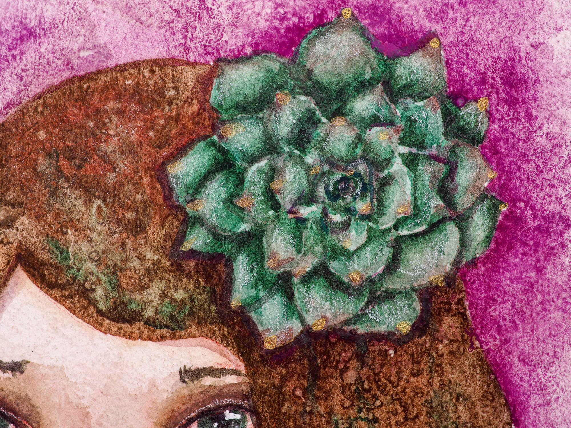 SUCCULENT - Spring garden inspired watercolor original by Danita, Original Art by Danita Art