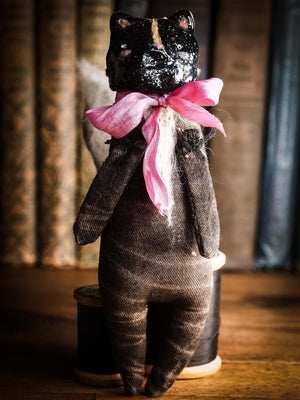 Skunk Toy Woodlands Soft sculpture art doll by Idania Salcido Danita Art with a Handmade ceramics face, organic dyed fabric and silk bow
