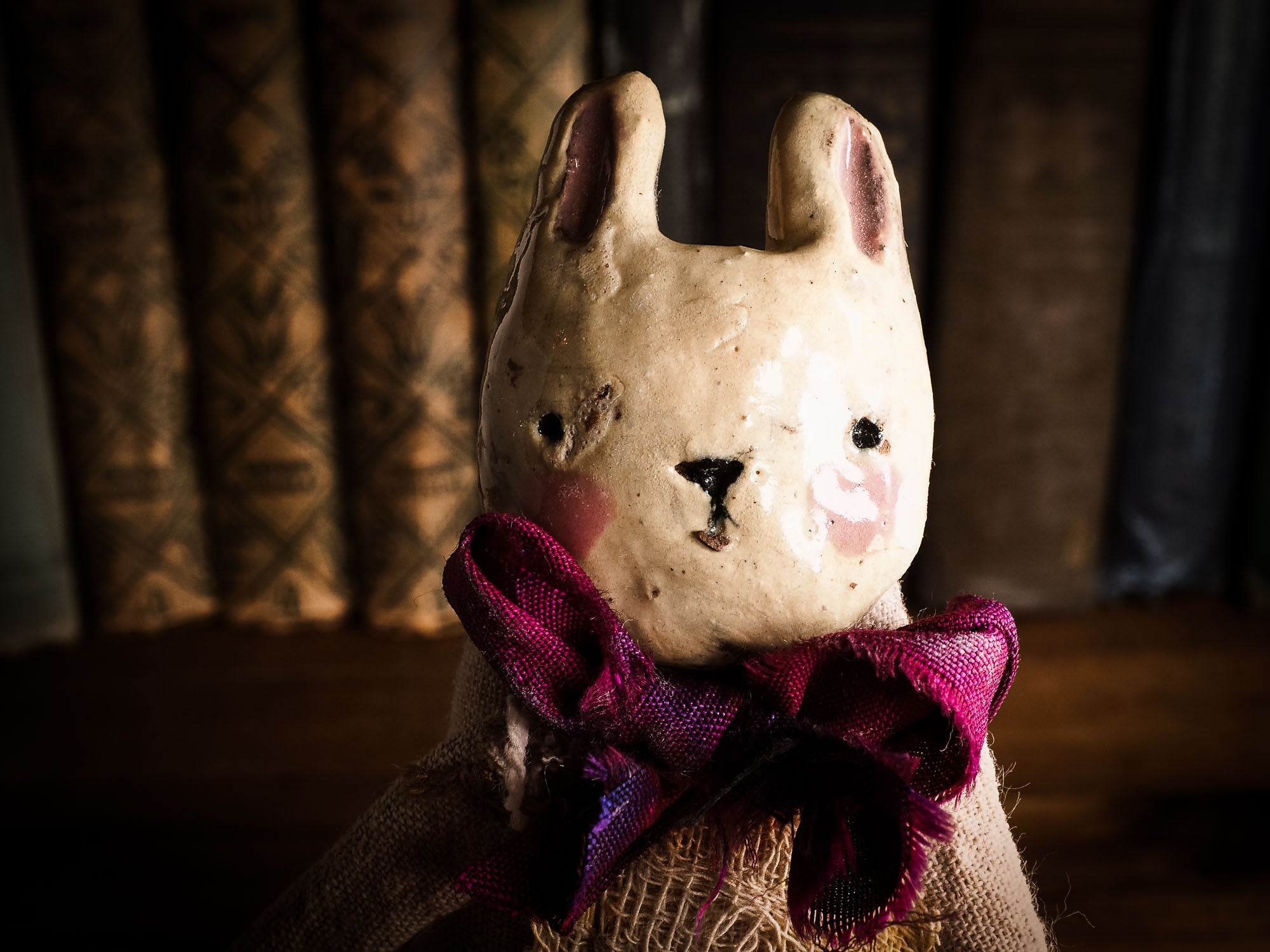 Bunny Rabbit Woodlands Soft sculpture art doll by Idania Salcido Danita Art with a Handmade ceramics face, organic dyed fabric and silk bow