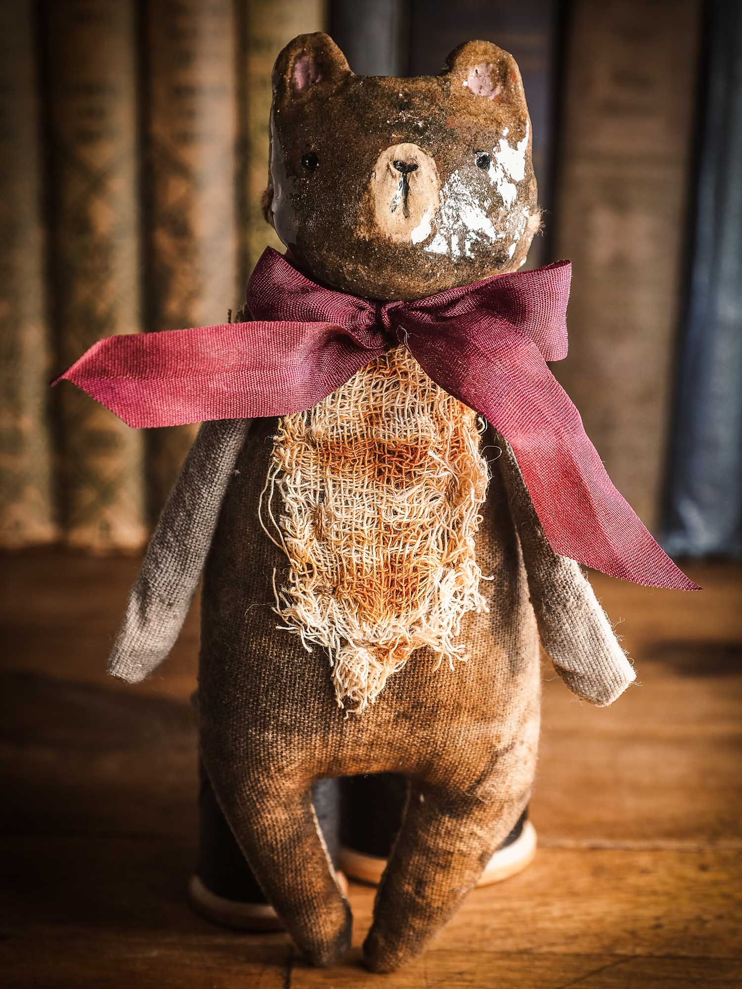 Brown Bear Woodlands Soft sculpture toy art doll by Idania Salcido Danita Art with a Handmade ceramics face, organic dyed fabric and silk bow