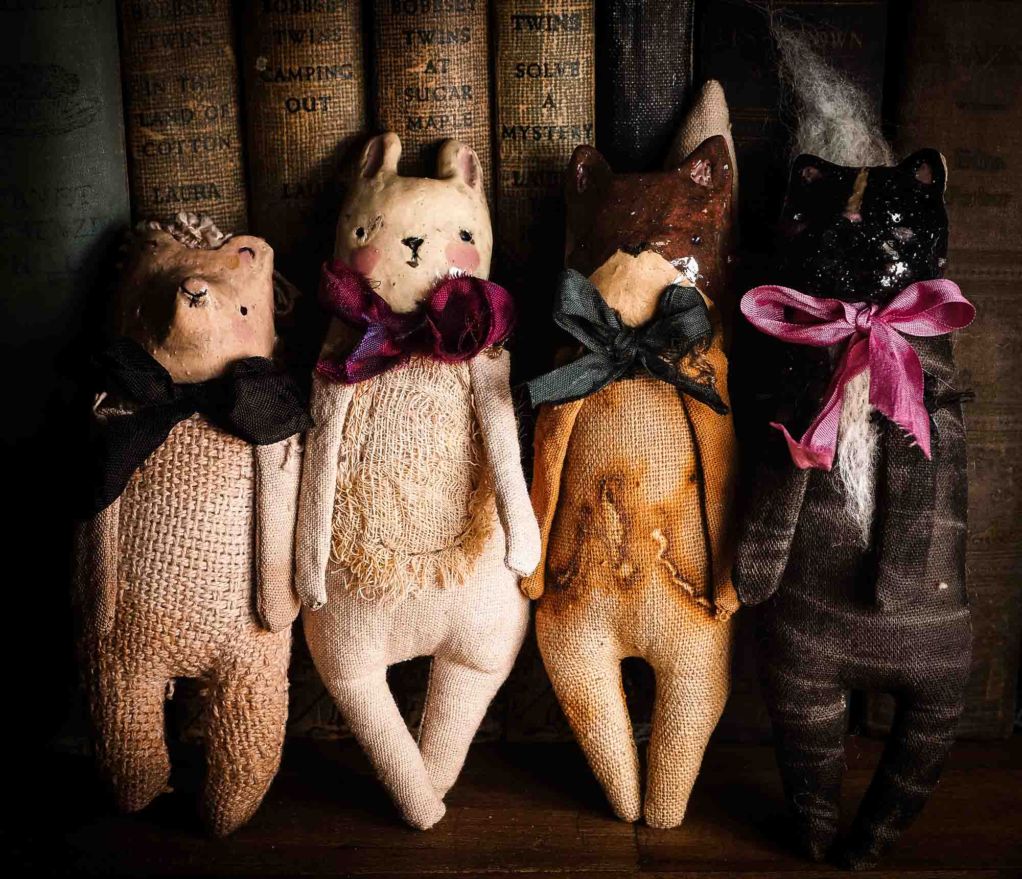 Woodlands Collection Of Unique Soft sculpture art doll by Idania Salcido Danita Art with a Handmade ceramics face, organic dyed fabric and silk bows