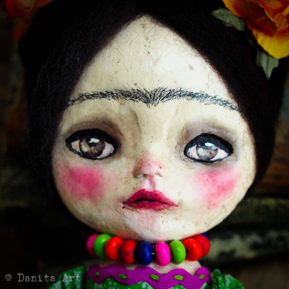 Frida and the skulls, Art Doll by Danita Art
