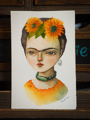 FRIDA AND THE SUNFLOWERS, Original Art by Danita Art