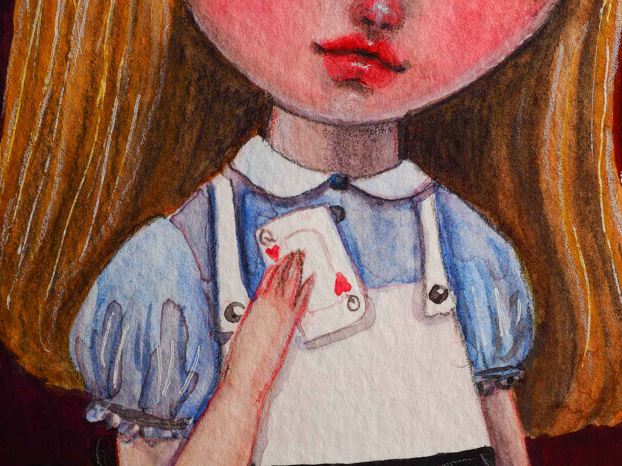 An original watercolor on paper painting by Idania Salcido The Artist behind Danita Art. Alice is holding a real playing card with the queen of hearts.