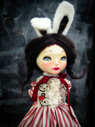 An original bunny rabbit handmade artdoll by Danita Art