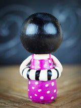 An original wood kokeshi doll handmade by Danita Art. Celebrate summer and the beach with this cute hand made wooden doll!