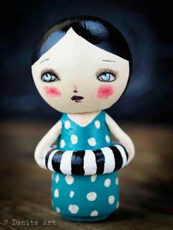 Gwen, the aqua summer beach kokeshi doll, Art Doll by Danita Art