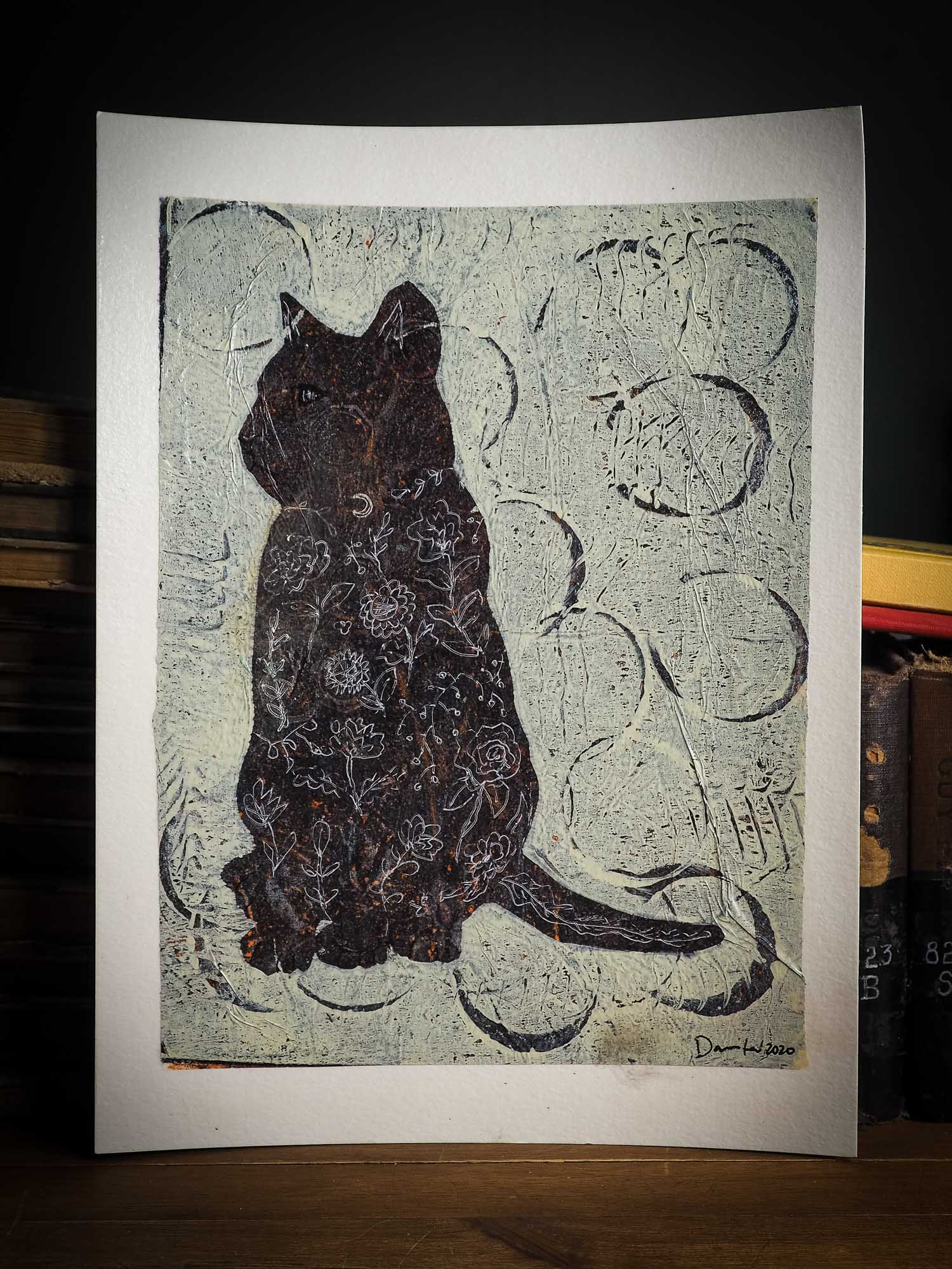 An original monoprint cat painting by mixed media artist Idania salcido the artist behind Danita Art