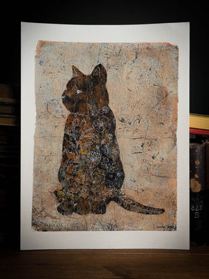 Beautiful monoprint painting in mixed media cat pet portrait by Idania salcido the artist behind Danita Art