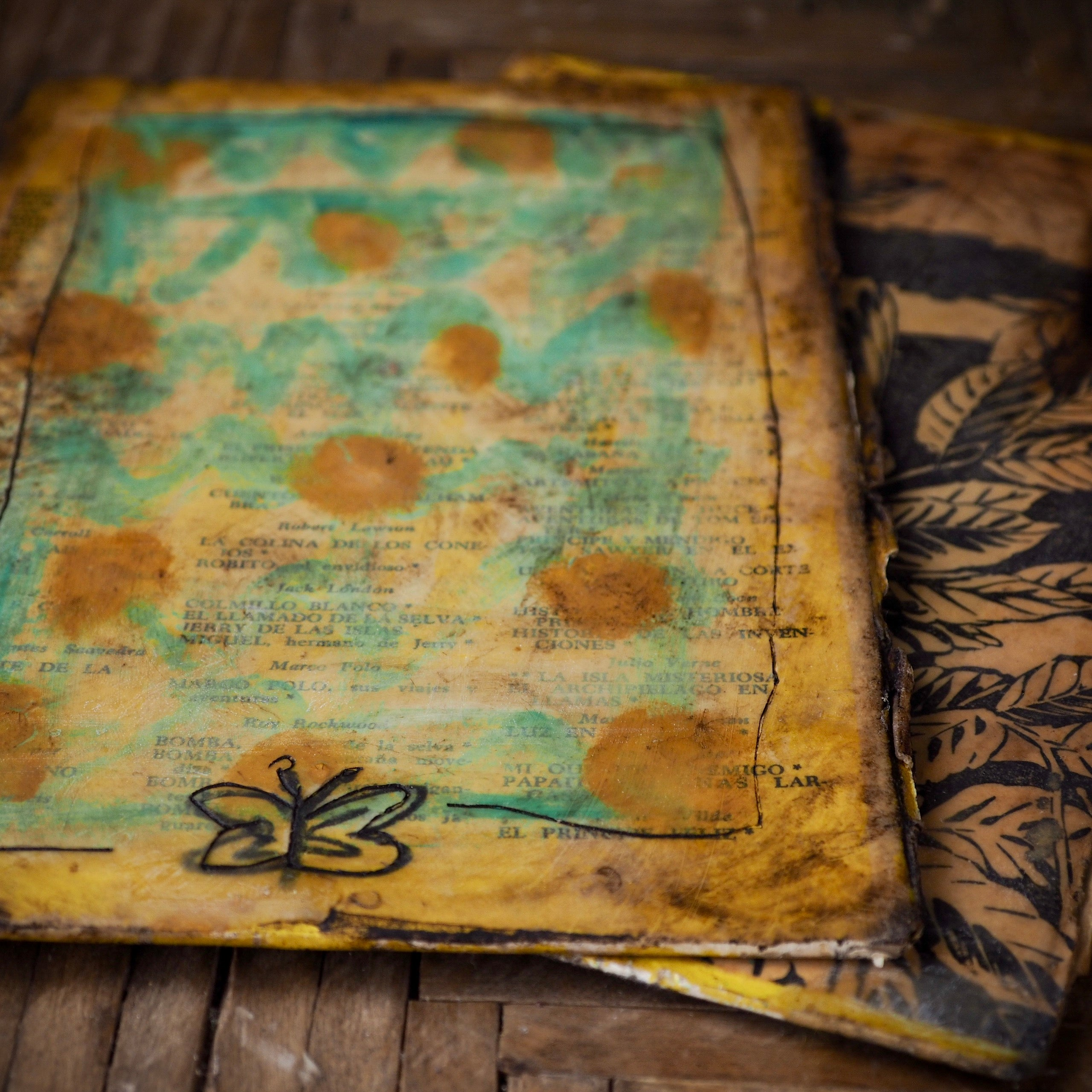 Beeswax dipped art journal original by Danita. Vintage book covered in bee wax, can be used as diary, art journal or writer's notes keeper.
