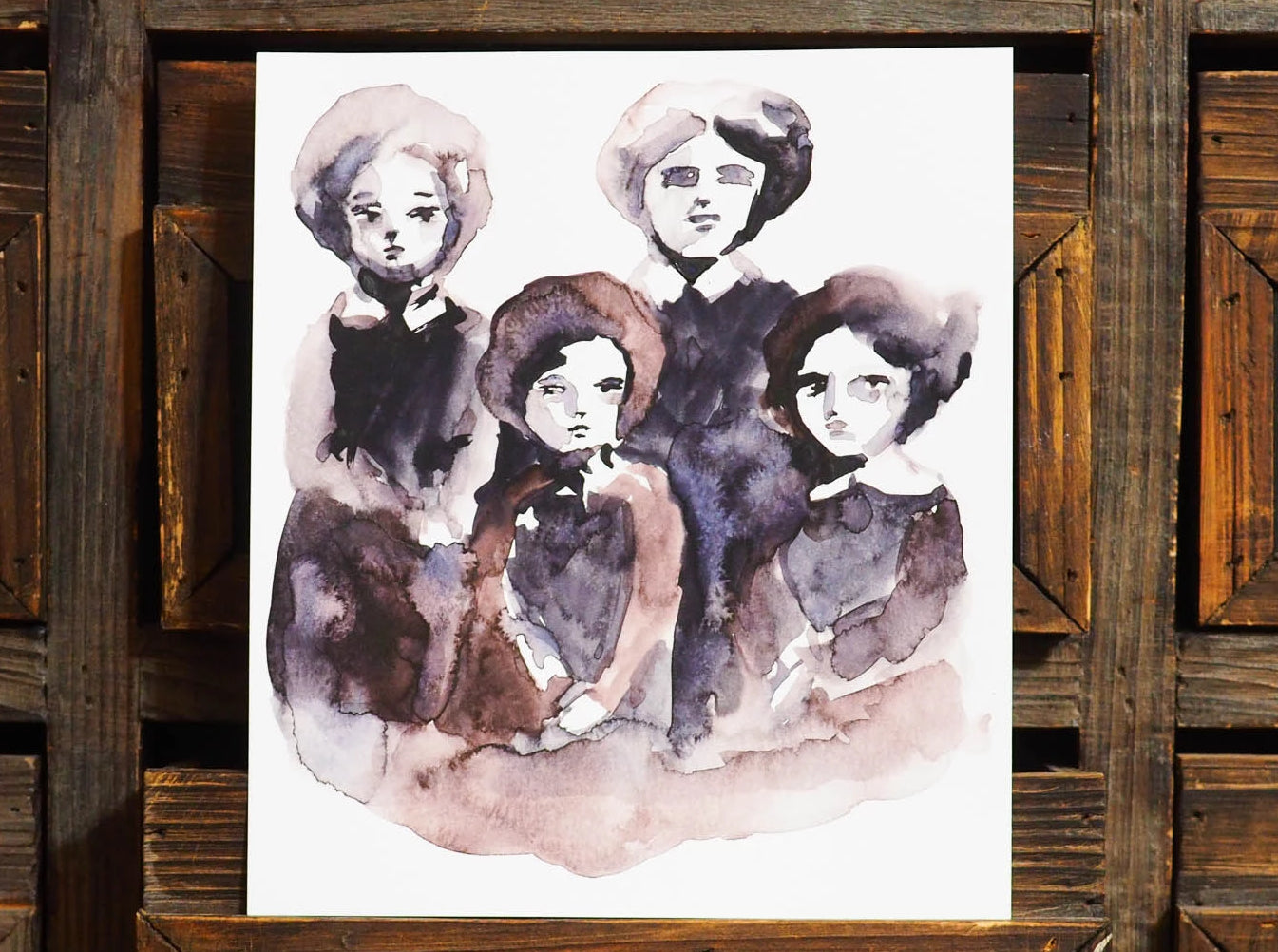 Original watercolor painting on paper by Danita Art. A vintage family portrait of four women got transformed into a beautiful watercolour painting ready to be framed and treasured as a family heirloom.