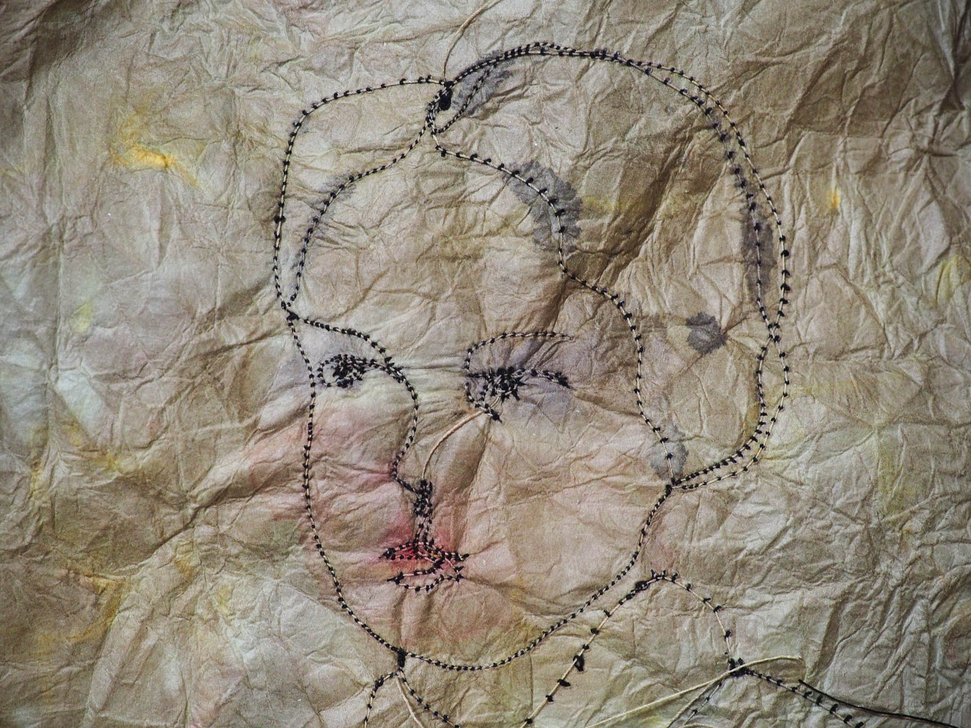 An original mixed media textile art female vintage portrait by Danita Art. Fabric paper, thread, acrylics, watercolor and inks mix to create a beautiful textile mixed media frameable work of art.