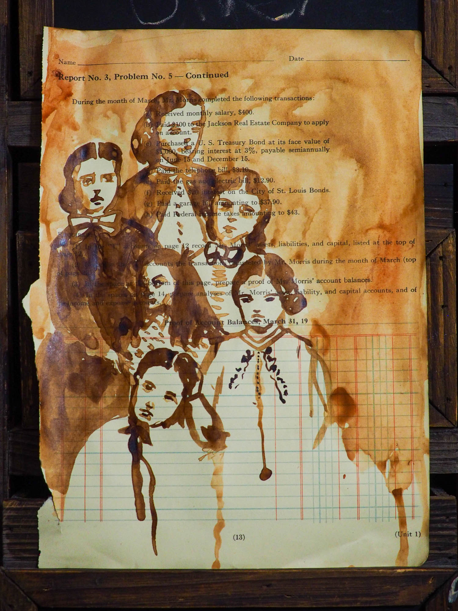 Original watercolor and ink mixed media folk art painting by Danita Art. Vintage Victorian  women and family painted over early 20th century ledger and accounting books paper. I took my watercolor paints and used family ties over time and ancestors to create a beautiful image that talks about strong family traditions.