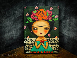 Frida and the burning heart, Original Art by Danita Art