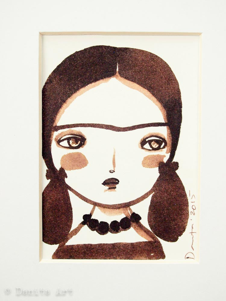 Monochrome Frida original watercolor ACEO Card study #2, Original Art by Danita Art