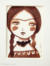 Monochrome Frida original watercolor ACEO Card study #7, Original Art by Danita Art
