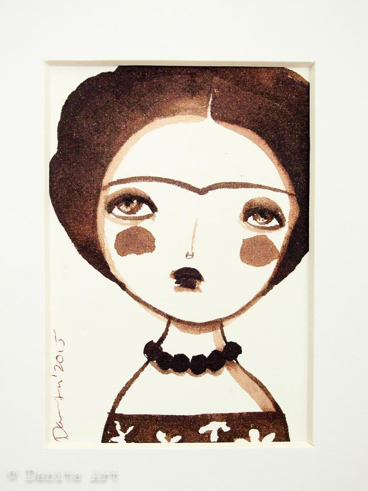 Monochrome Frida original watercolor ACEO Card study #6, Original Art by Danita Art