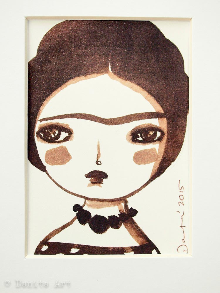 Monochrome Frida original watercolor ACEO Card study #1, Original Art by Danita Art