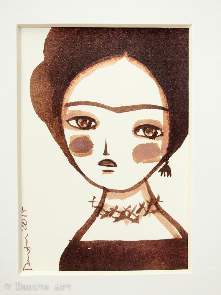 Monochrome Frida original watercolor ACEO Card study #4, Original Art by Danita Art