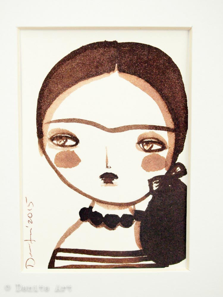 Monochrome Frida original watercolor ACEO Card study #5, Original Art by Danita Art