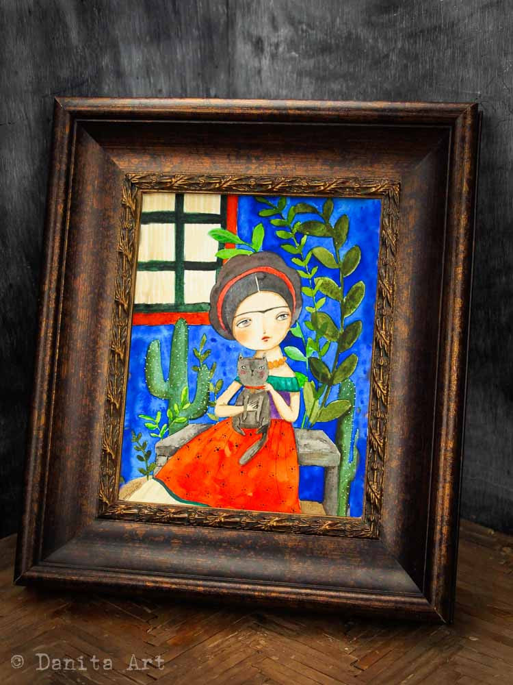 Frida en la casa azul, Original Art by Danita Art