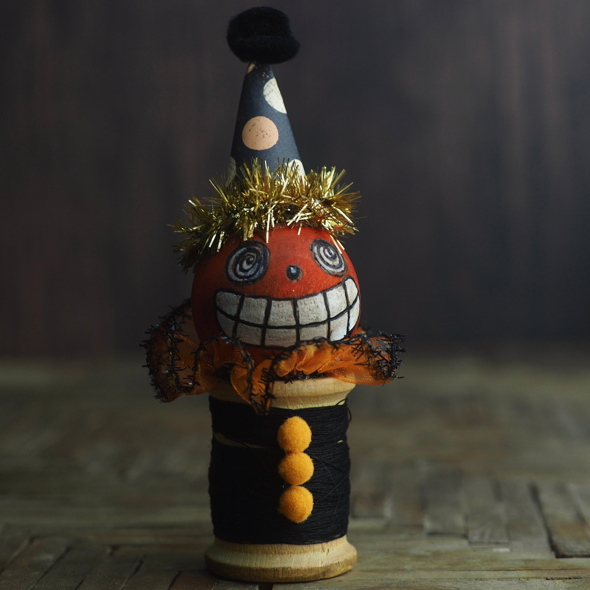 Dan, the happy go lucky jack-o-lantern pumpkin - Vintage thread spool kokeshi Halloween art doll by Danita, Miniature Dolls by Danita Art