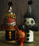 Danita wicked Jack-lantern pumpkin monster evil vintage Halloween folk art original art doll kokeshi wooden spool thread figurine home decor decoration