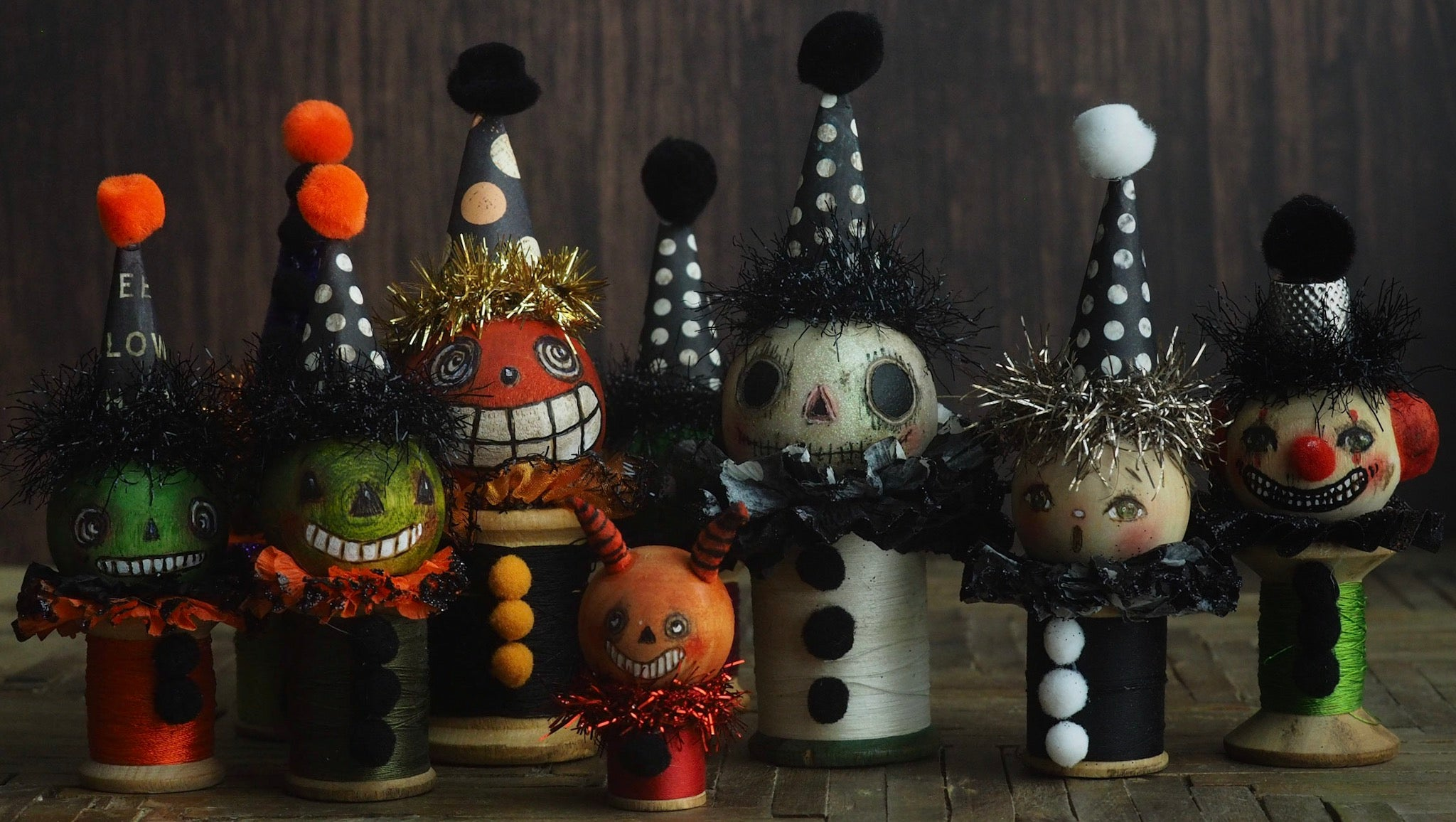 Frankenstein's monster - Vintage thread spool kokeshi Halloween art doll by Danita, Miniature Dolls by Danita Art