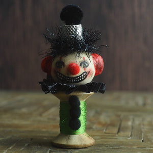 Danita clown pennywise IT evil vintage Halloween folk art original art doll kokeshi wooden spool thread figurine home decor decoration