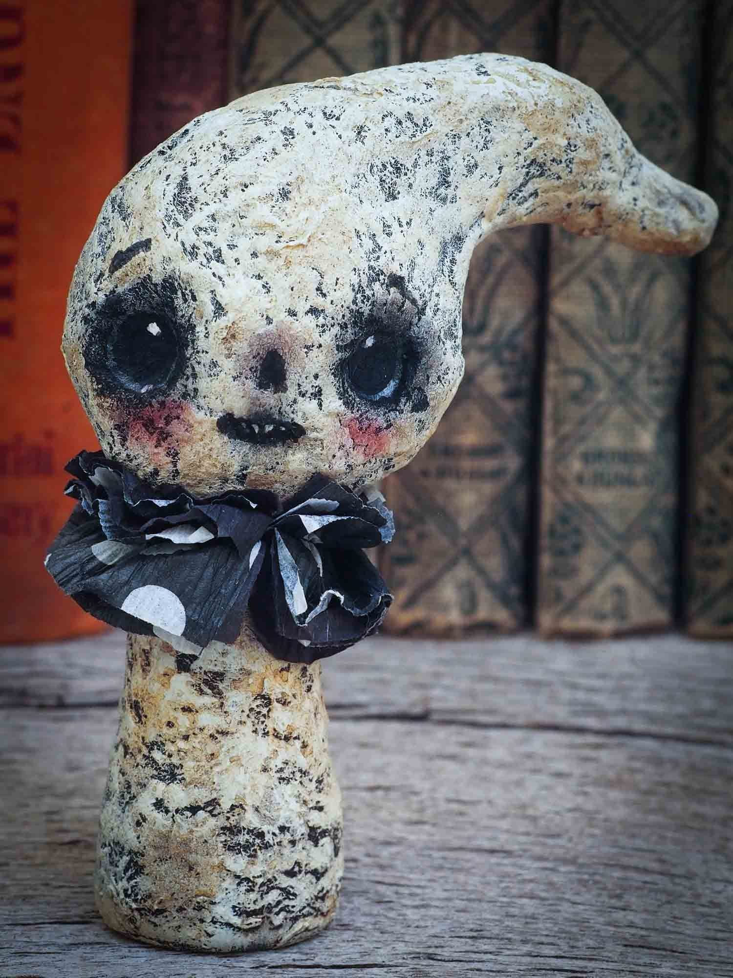 A super cute ghost ghoul Halloween mini figurine by Danita. This folk art and crafts mini art doll is kawaii kokeshi in style, handmade for Halloween home decor decorations by Danita Art.