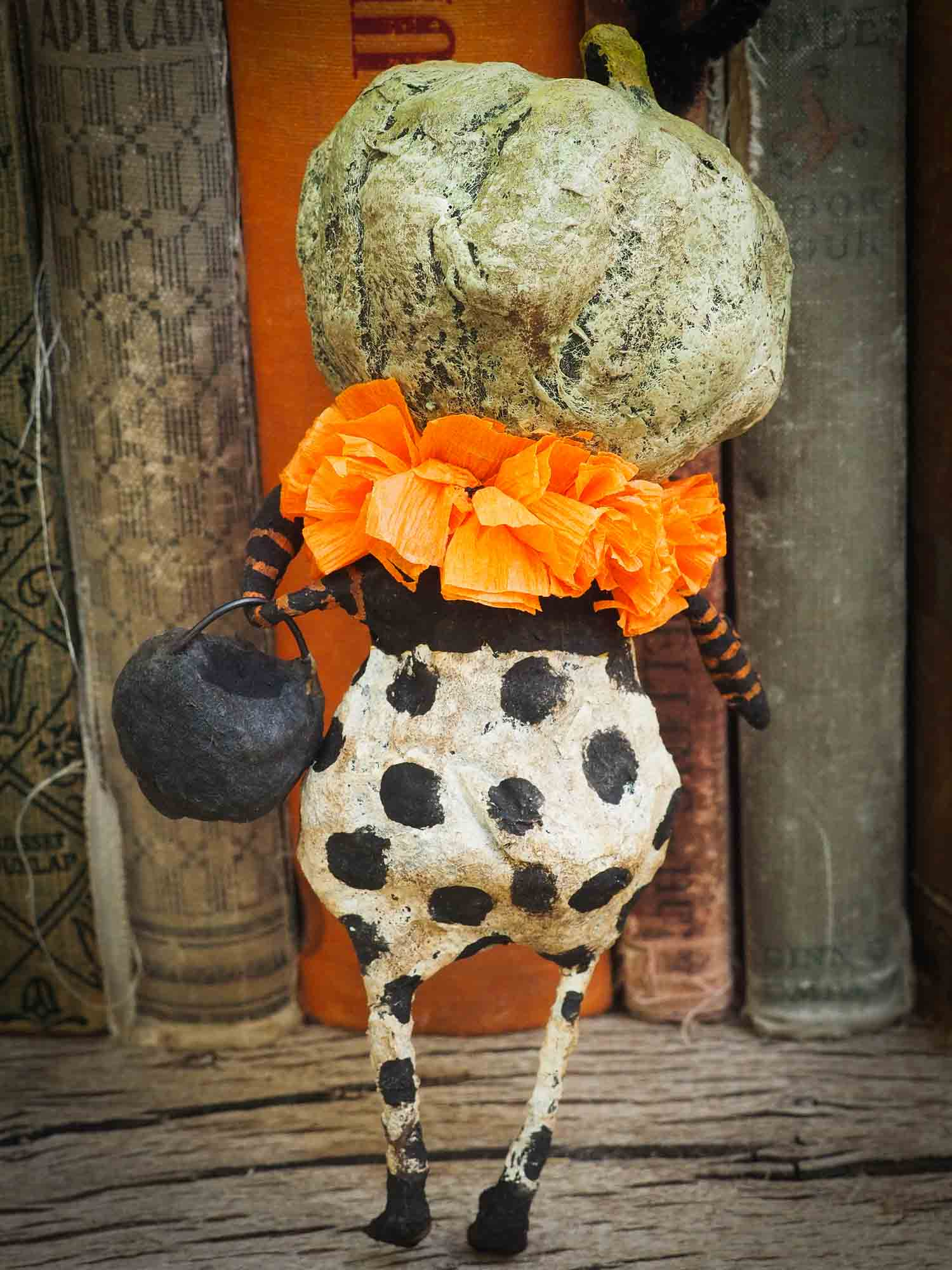 Jack-O-Lantern pumpkin ornament Halloween decoration. Danita art original handmade art doll pumpkin made with spun cotton from collection of witches, ghosts, skeletons, jack-o-lantern, pumpkin, vampire, ghouls and other whimsical folk art style home decor.