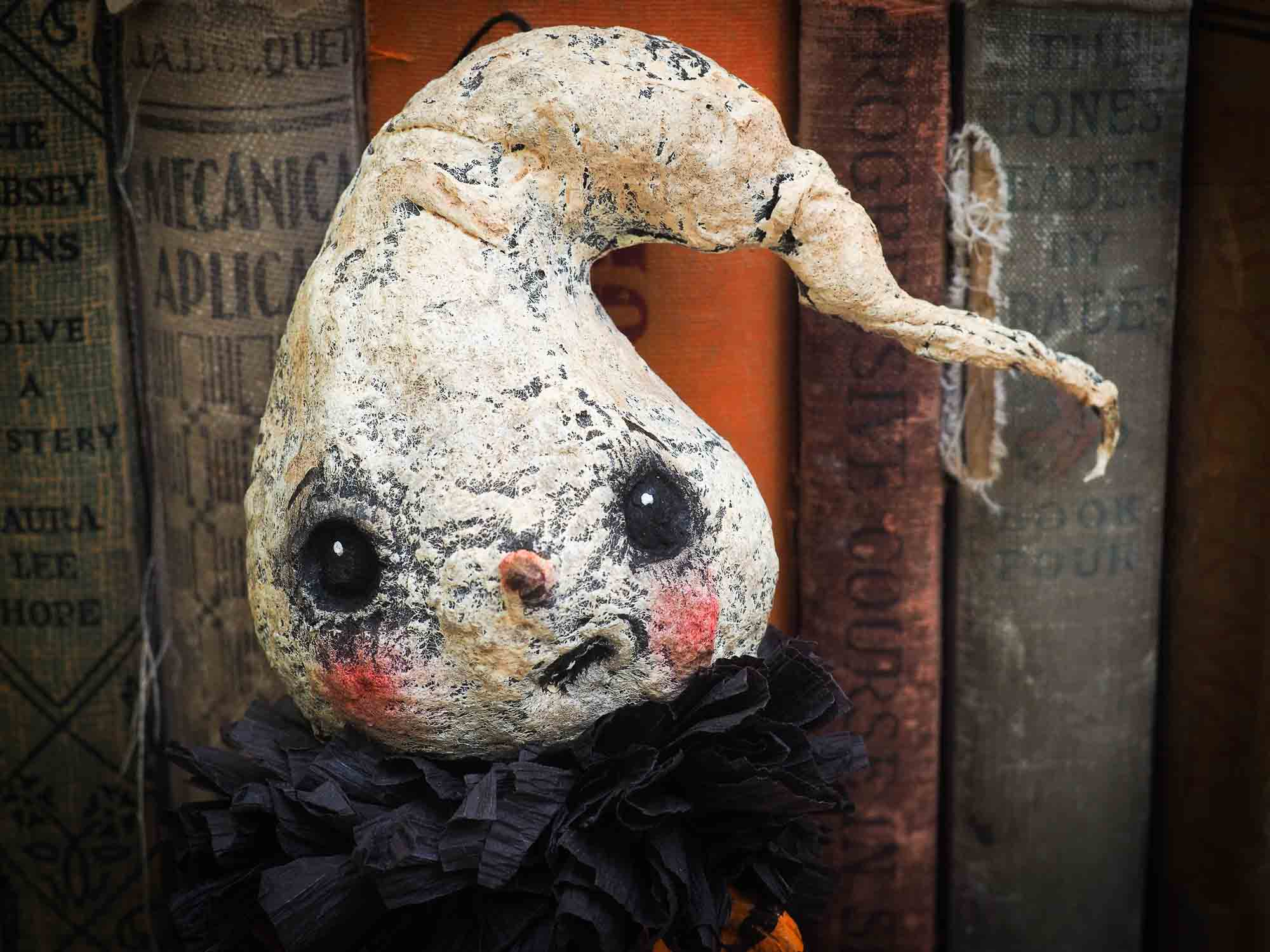 ghost ghoul spirit ornament Halloween decoration. Danita art original handmade art doll ghost made with spun cotton from collection of witches, ghosts, skeletons, jack-o-lantern, pumpkin, vampire, ghouls and other whimsical folk art style home decor.