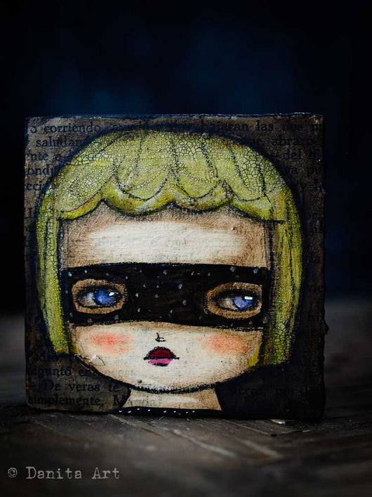 Inspired by the names of the most powerful witches of all time, Danita created a series of whimsical mixed media Halloween paintings.