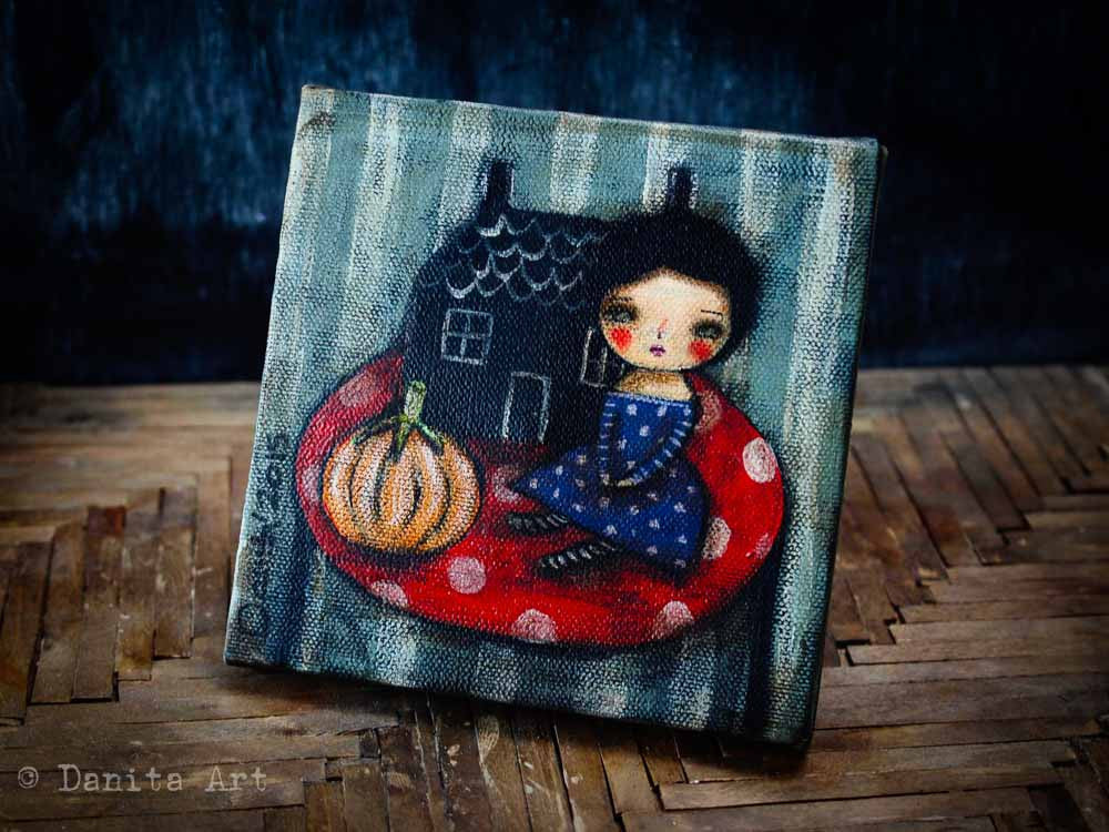 Pumpkin on a table, Original Art by Danita Art