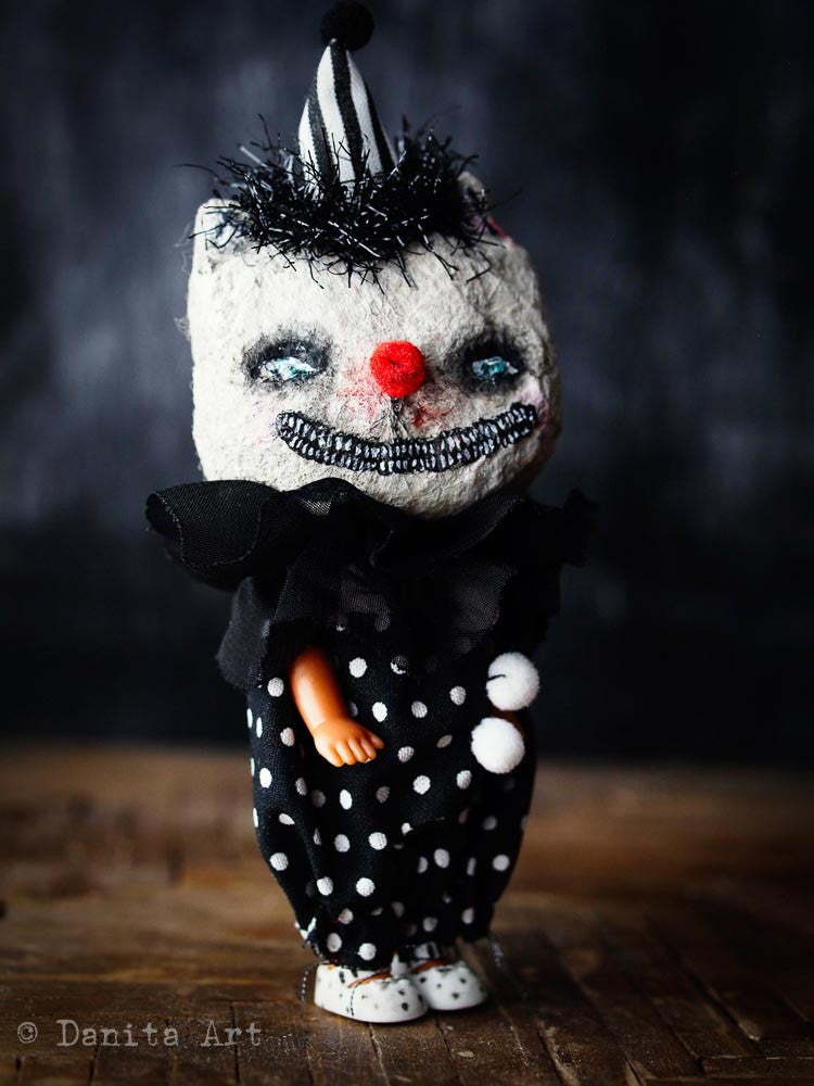 Evil cat clown, Miniature Dolls by Danita Art
