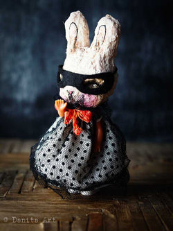 Dark bunny, Art Doll by Danita Art