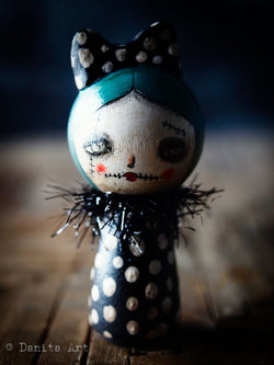 An original miniature wood kokeshi Halloween doll by Danita Art.