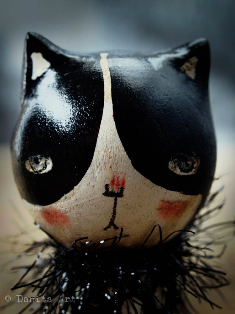 Black Cat, Miniature Dolls by Danita Art