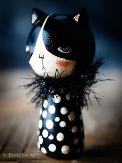 Black Cat, Art Doll by Danita Art