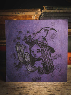 An original ink monoprint by Idania Salcido (Danita Art), this painting measures 7 x 7 inches on a very special purple toned paper. What better way to celebrate Halloween than with Witches? I loved this inked monoprint! She is traveling with her ghosts, ready for an amazing night of trick-or-treat.