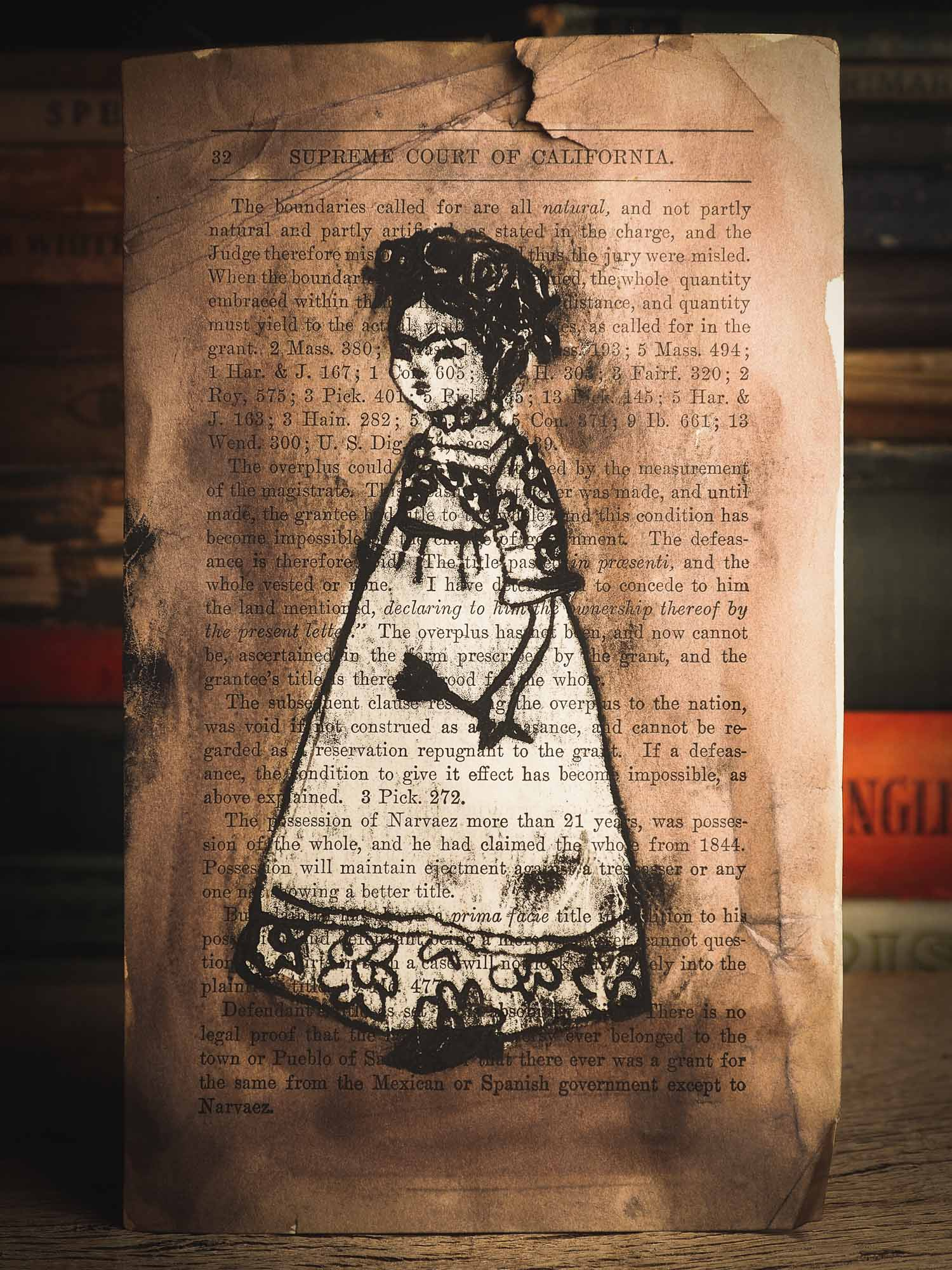 I painted Frida using a page from a vintage book I found from my collection, I love the mixing of letters and drawing, as it gives it a very special vintage feel. An original ink monoprint by Idania Salcido (Danita Art), this painting measures 9 x 5 inches on a very special vintage paper.