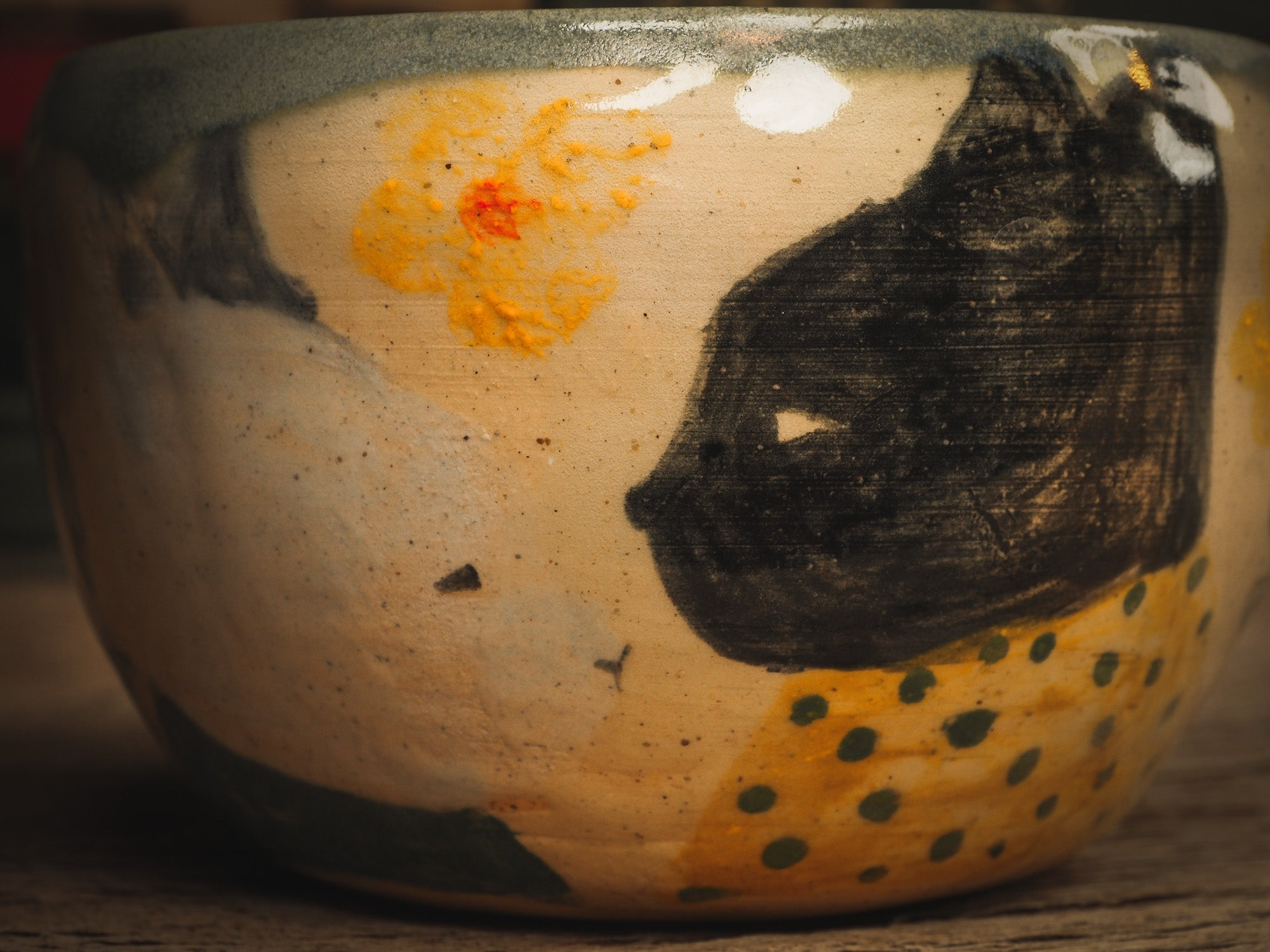 An original ceramic coffee and tea mug by Idania Salcido, the artist behind Danita Art. It measures 4 x 4 x 2.5 Inches, totally handmade in my studio. Food and drink safe, hand wash only. My cat Loki inspired me to paint this beautiful bowl. He has a white friend that lives outside my property and he comes to visit every day, they look at each other and like to play.