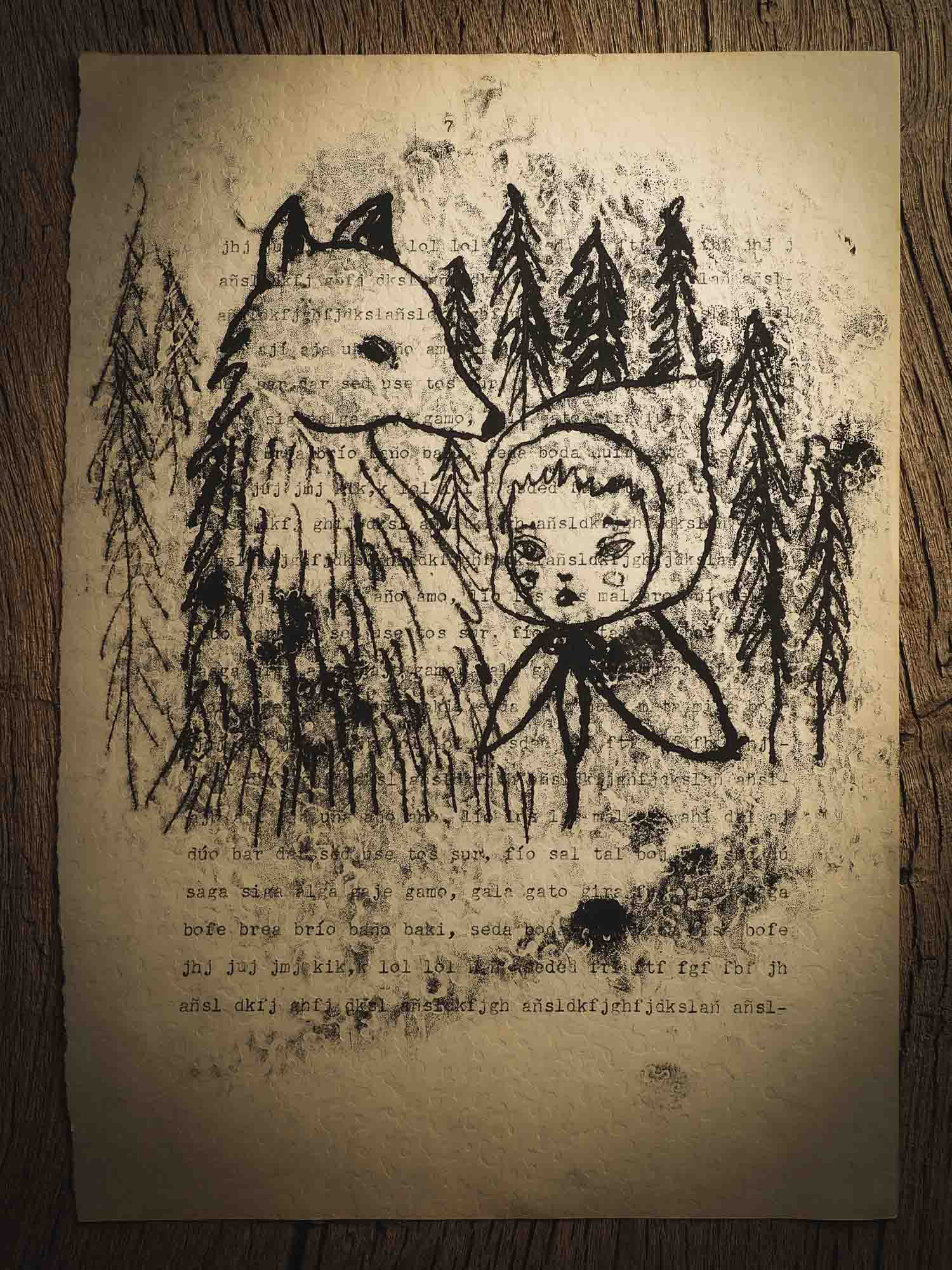 An original ink monoprint by Idania Salcido (Danita Art), this painting measures 7 x 11 inches on a fancy paper with mechanography exercises, dated from early 20th century. In my world, Little Red Riding Hood and The Wolf are friends and companions that play in the deep forest, where no one can bother them. No hunters, No annoying chores, just pure fun in nature.